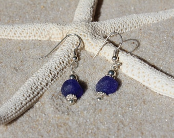Authentic Cobalt Blue Sea Glass Drilled Sterling Silver Earrings