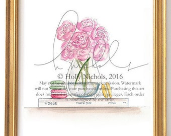 Peonies & Vogue (Fashion Illustration Print)