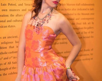 Orange and Pink Strapless Multi-layered Dress with Pockets