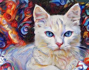 White Cat Art, Kitten Art Print, Cat Gift, Cat Wall Art, Modern Art, Cat Gift for Women, Cat Lover Gift, Colorful Print, Modern Decor,