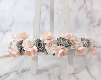 White blush and gray flower crown - girls - floral hair wreath - headpiece - flower hair accessories - head wreath - halo