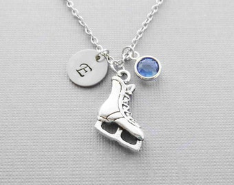 Ice Skate Necklace Skating Team Sport BFF Friend Gift Silver Jewelry Swarovski Birthstone Silver Initial Personalized Monogram Hand Stamped
