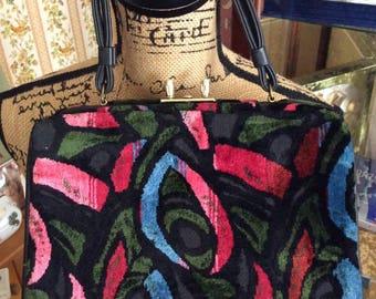 Vintage 1950s 1960s Handbag Purse Cara Made In USA Brushed Velvet Mauve Aqua Blue Green Black Art Deco Design Pattern