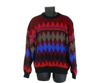 Men Sweater 80s Sweater 90s Sweater Men Jumper Pullover Sweater Maroon Sweater Knit Sweater Crewneck Sweater XL Sweater Winter Sweater Funky