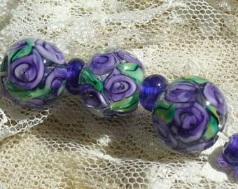 Beads/lampwork beads/glass beads/amethsyst/purple/roses/garden/flowers/sra handmade glass/lampwork glass beads/handmade lampwork/