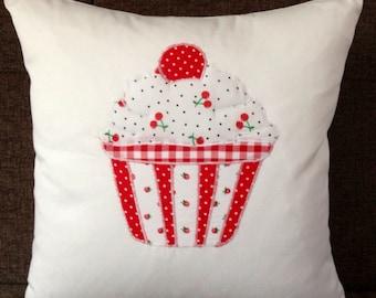 Handmade Appliqued Cherry Cupcake Cushion