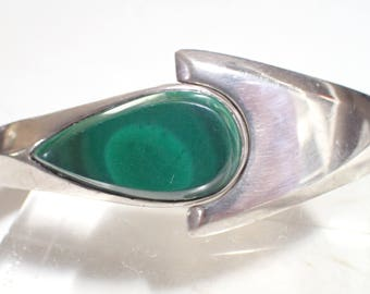 Sterling Silver and Malachite Hinged Clamper Bracelet - Taxco Mexico