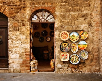Rustic decor, Tuscany print, italy photography, kitchen art, home decor, warm colors, large wall art, Italy architecture
