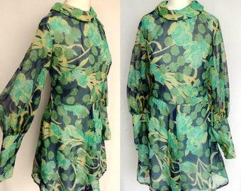 Vintage 60s 70s Designer Clifton Label Sheer Navy Blue & Green Botanical Floral Print Poet Sleeve Mod Hippie Boho Babydoll Mini Dress Medium