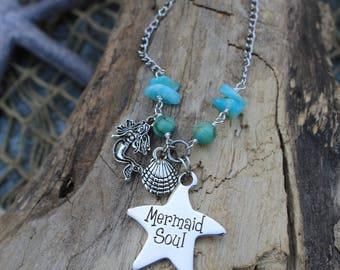 Mermaid Soul Silver Charm Necklace - Mermaid Gifts - Beachwear - Beach Ready- Mermaid Jewelry - Beach Jewelry - Coastal - Mermaid Necklace