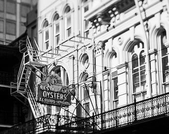 The Pearl Oyster Restaurant Photograph. New Orleans Architecture Photograph. Black and White Print, Affordable Wall Art, Home Decor, Travel