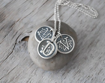 Three Personalized Wax Seal Initials - Ornate Custom Personalized Initial Necklace - Sterling Silver Wax Seal Necklace