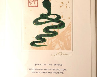 Year of the Serpent card printed in rice paper