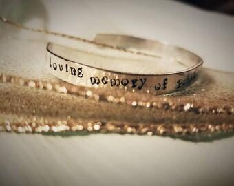 Hand stamped cuff bracelet with lyrics poems designs or names. Great lightweight custom bracelet. Secret inside message available.