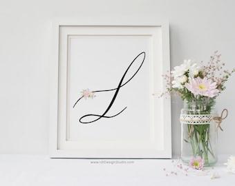Baby Room Decor, Letter L Wall Art, Nursery Monogram Print, Nursery Wall Art, Monogram Printable, Initial Print, Gift Ideas, Cadre,  DT206