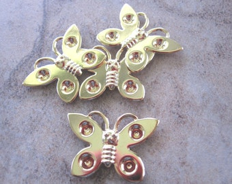 Settings - Lot of 4, Gold-plated steel, 25x18mm single-sided butterfly - JD121