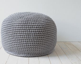 Kids room seating- Crochet pouffe – Grey ottoman – Grey nursery seating - Footstool ottoman - Floor Cushions