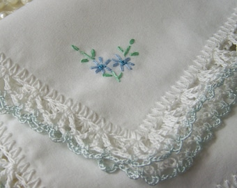 Blue Handkerchief, Hanky, Hankie, Bridal, Something Blue, Hand Crochet, Lace, Lacy, Embroidered, Personalized, Ready to ship