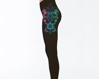 Women's THRIVE Mandala Black Leggings Sacred Geometry Clothing Blackwork Iris Tattoo Style Tights Floral Active Wear
