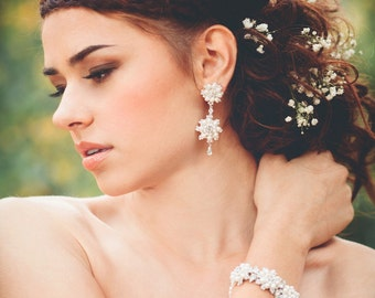 "Pearl Crystal Wedding Drop Earrings | White Daisy Posts Studs | Woodland Spring Wedding ""Artemisia"""