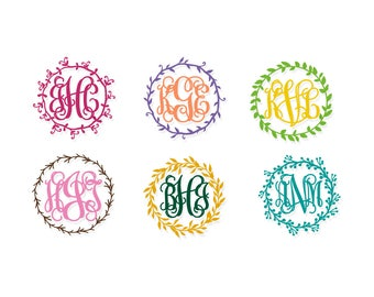 Monogram Decal | Vinyl Monogram Decal | Custom Monogram | Leaf Monogram Decal | Monogram Vinyl Decal | Interlocking Monogram | Leaf Monogram