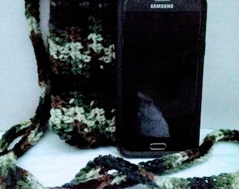 Camouflage crochet cross body cell phone pouch Cozy
