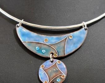 Cloisonné, Choker, turquoise enamel necklace