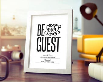 WIFI Password Sign, Be Our Guest Wifi Sign, Wifi Password Printable, Internet sign, Guest Room Sign, PDF Instant Download #BPB340_F
