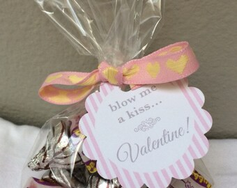 "Kids Valentines - ""Blow Me A Kiss"" - Printable Valentine - Valentine Favor Tags - Class Valentines - Instant Download - Printable PDF File"