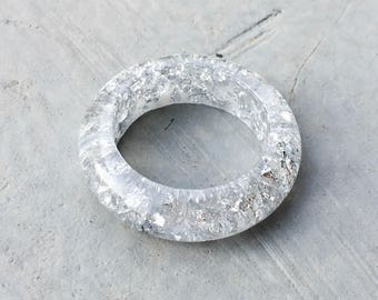 Silver Resin Ring with Silver flakes
