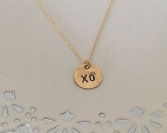XO Necklace | XO Pendant | Hugs and Kisses | XO Gold Stamped Necklace | Wedding Gift | Gift for Bride | I Love You Gift | xoxo Charm