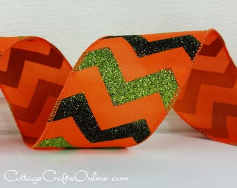 "Halloween Wired Ribbon, 2 1/2"" Glittered Chevron Orange Green Black - TEN YARD ROLL -  ""Halloween Zig Zag"" Craft Wire Edged Ribbon"
