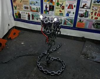 Metal snake chain sculpture light lamp