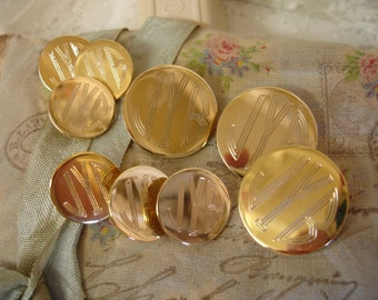 set vintage buttons gold tone metal monogram buttons engRaved J Y B shank buttons original box vintage collectible buttons