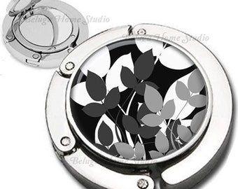 Abstract Nature Black White Gray Background Purse Hook Bag Hanger Lipstick Compact Mirror