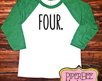 Four Year Old Birthday Shirt, Fourth Birthday Boy Shirt, 4 Year Birthday Shirt, 4th Birthday Shirt, Birthday Boy Outfit, Raglan Shirt