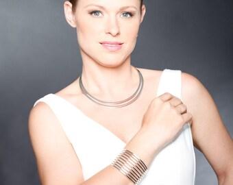 Wedding Jewelry, Bridal Jewelry, Statement Necklace & Cuff Bracelet, Wedding Necklace, Wedding jewelry, Silver Necklace, Silver Cuff