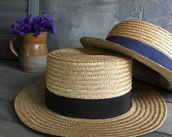 1 Authentic French Straw Boater Hat Grosgrain Ribbon, 2 Available