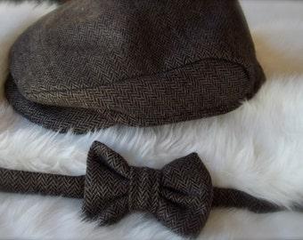 Newsboy Hat - Photo Prop - Gatsby Hat - Newsboy Cap - Cap and Bow Tie Set - Boys Cap - Boy Bow Tie - Wedding Set - Ring Bearer - Brown - Her