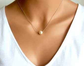Pearl Necklace In Silver Chain With 10MM Cream Swarovski Crystal Pearl 18 Inches
