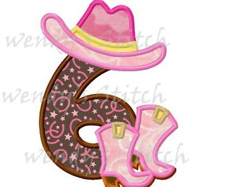 cowboy birthday applique number 6 machine embroidery design