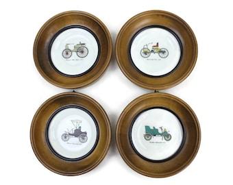 Framed Porcelain Plates, Classic Cars, Set of 4, Antique Automobiles, Auto Enthusiast Gift, c1950s