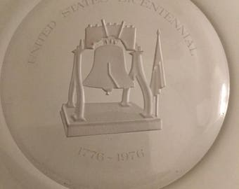 American Bicentennial 1776-1976 Liberty Bell Etched Glass Charger, Signed & Numbered