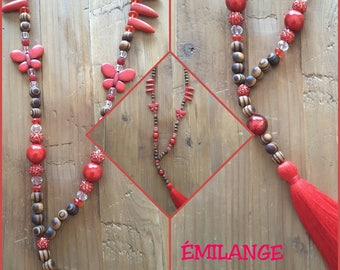 Long red Butterfly Necklace