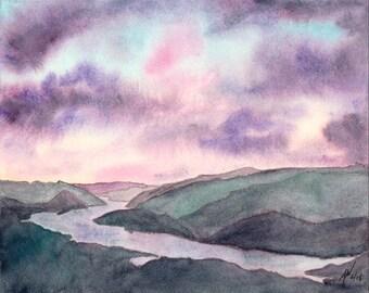 Columbia River Gorge Watercolor Print