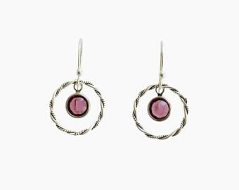 Boho Earrings, Sterling Silver Hoop Earrings, Amethyst Drop Earrings, Dangle Earrings, Crystal Earrings, Dainty Earrings, Gifts, Birthday