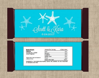 12 Personalized Starfish Large Hershey Candy Bar Wrappers - wedding candy bar wrapper - Custom Colors and personalization