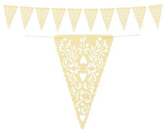 Cream Heart Pennant Banner, Reusable Customizable Pennant Banner, Cream Heart Lace Wedding Photo Prop, Baby Shower Bunting, Bridal Shower