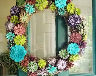 Pinecone Succulent Wreath