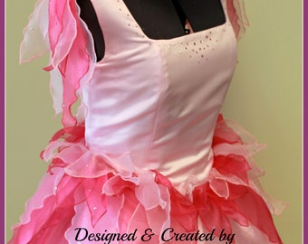 Flower Fairy Petal Costume - Ladies Fairy Costume Dress - Flower headpiece - Pink Woodland Fairy - Custom made to order Fairy Costume